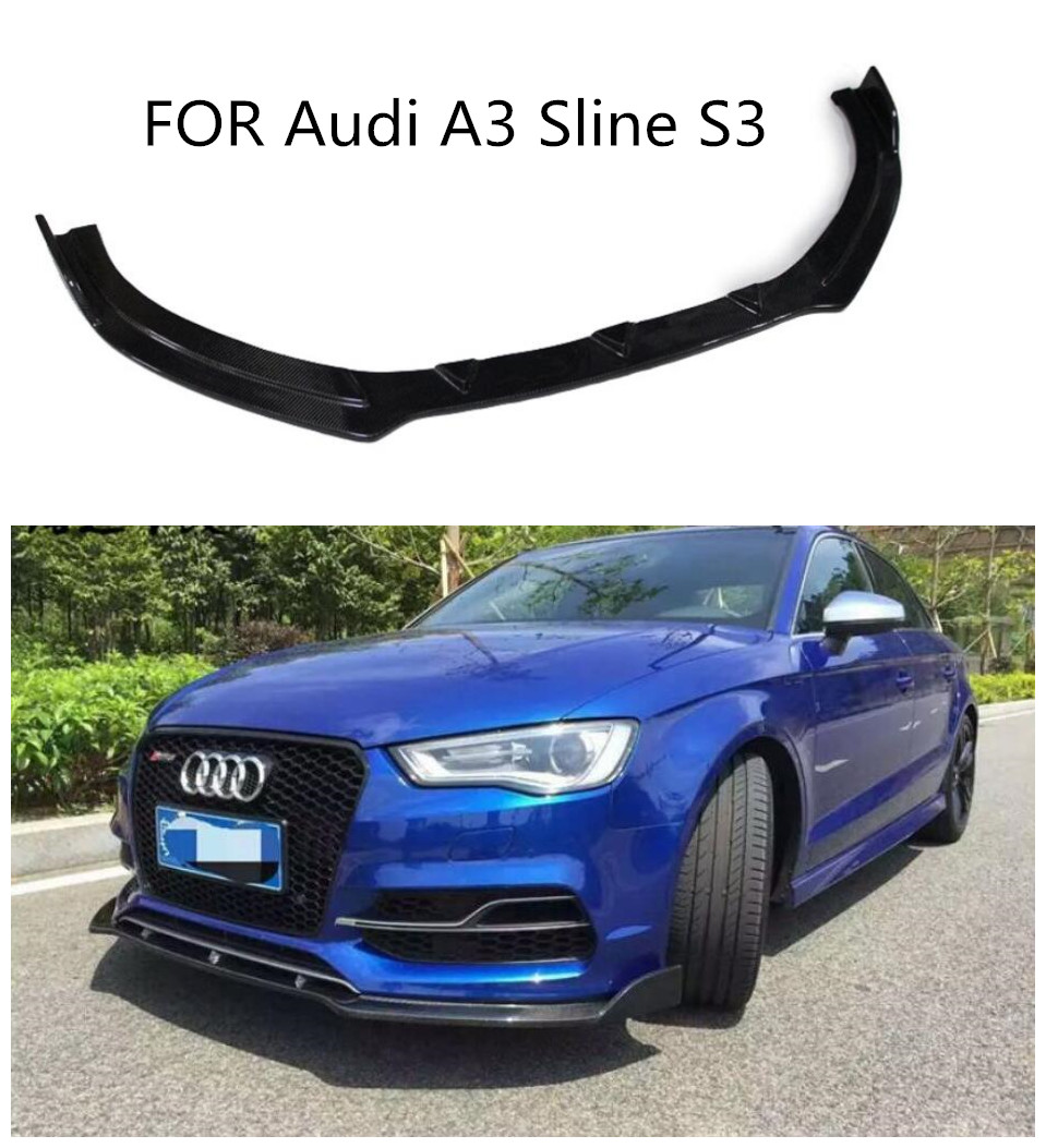 Carbon Fiber CAR FRONT LIP BUMPER SPOILER+<font><b>REAR</b></font> TRUNK <font><b>DIFFUSER</b></font>+SIDE SPLITTERS COVER Fit For <font><b>Audi</b></font> <font><b>A3</b></font> Sline S3 Sedan 4 door Not image