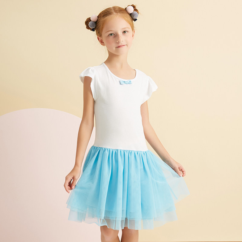 2017 Girls Fashion Bow Knot Dress Blue Pink Lavender Petti Tulle Dress Children Clothes for Age 5678910 11 12 13 14 Years Old fashion bow knot side up strapless party dress deep pink size m