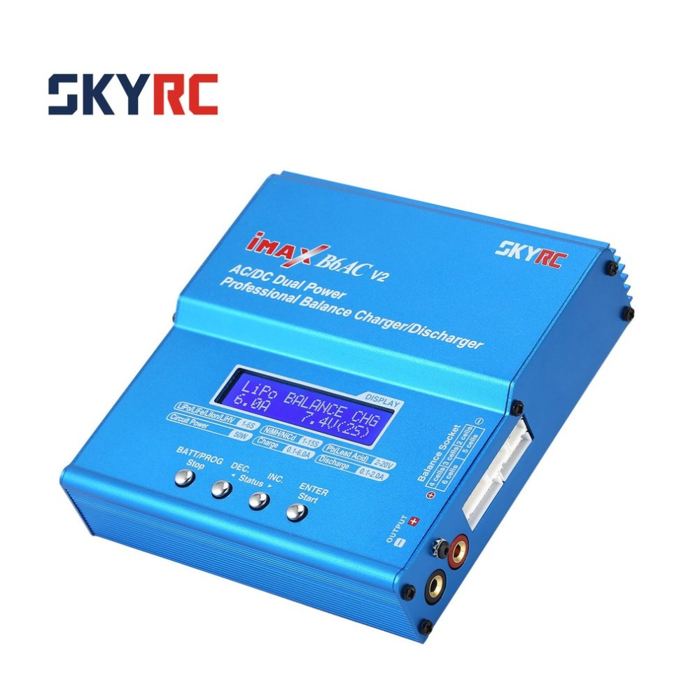 SKYRC iMAX B6AC V2 6A 50W AC/DC Lipo NiMH Pb Balance Charger/Discharger with Adapter LCD Display for RC Car Drone Helicopter original skyrc imax b6ac v2 6a lipo battery balance charger lcd display discharger rc model battery charger re peak mode imax