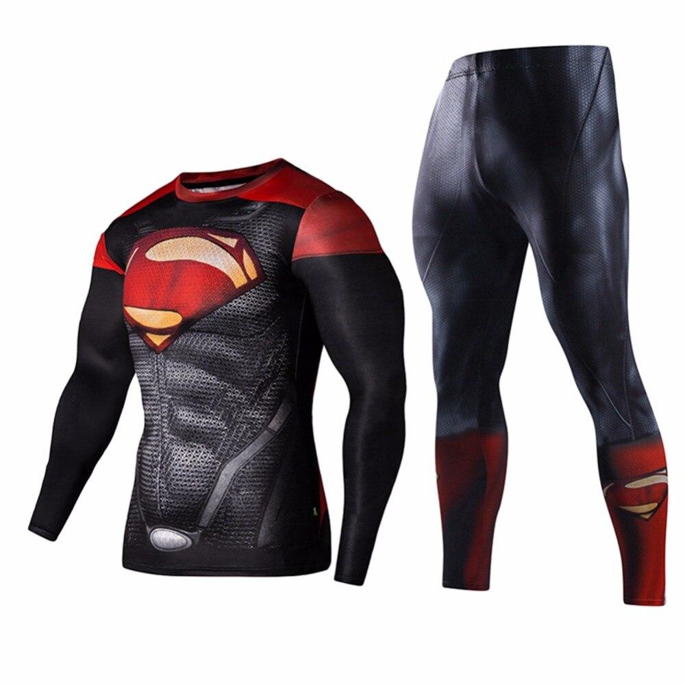 2Pcs Fashion Sportswear Men Workout Fitness Set Superman Captain America Tracksuit Set Plus Size S-XL