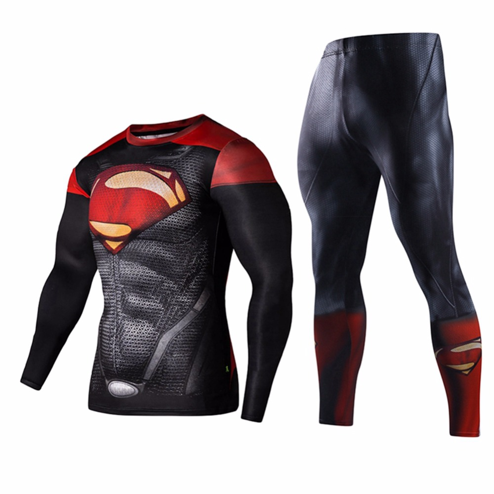 2Pcs Fashion Sportswear Men Workout Fitness Set Superman Captain America Tracksuit Set Plus Size S XL