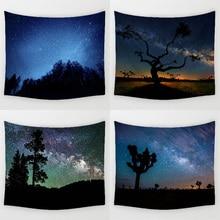 Comwarm блестящие ночь прочный стене висит красивый лес звездное небо Природные пейзажи Картина гобелен Спальня Home Decor Книги по искусству