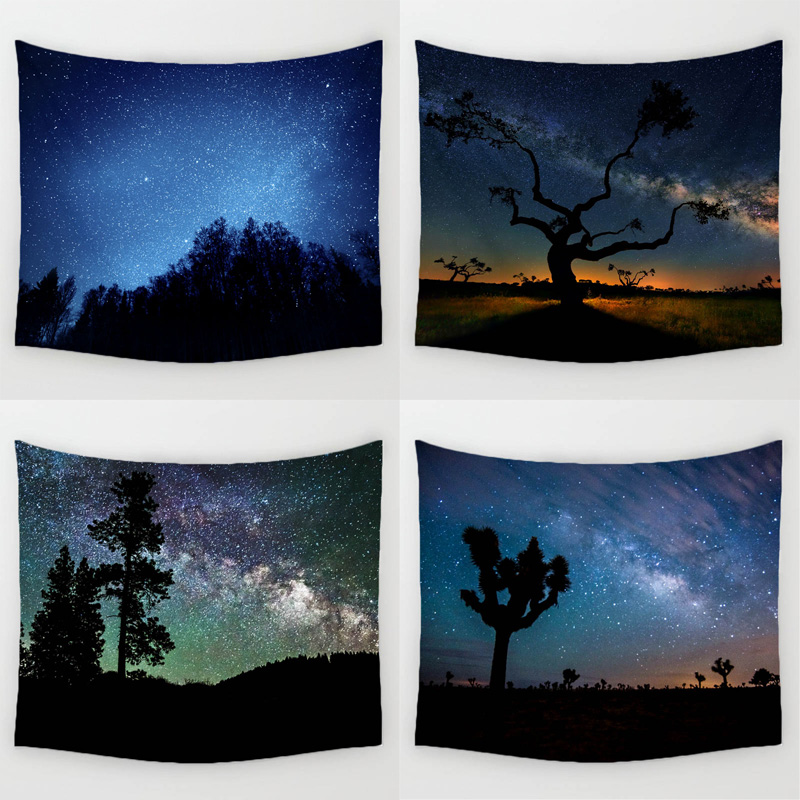 Comwarm Shiny Night Durable Wall Hanging Beautiful Forest Starry Sky Natural Scenery Pattern Tapestry Bedroom Home Decor Art