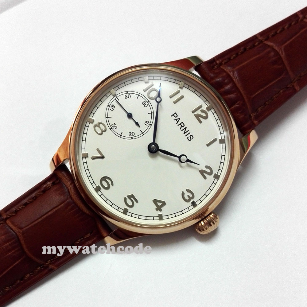44mm parnis blue hands brown 6497 hand winding movement mens wristwatch 22044mm parnis blue hands brown 6497 hand winding movement mens wristwatch 220