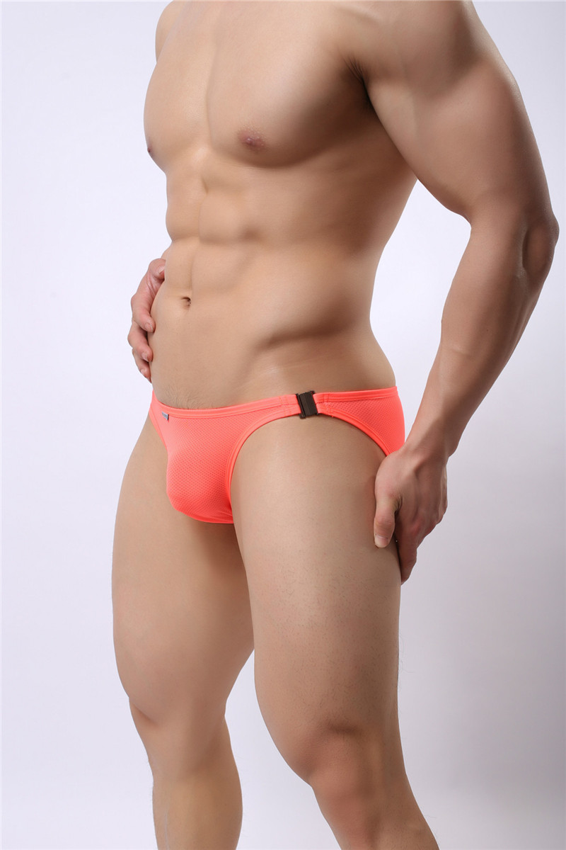 Mens Nylon Slip Small Mesh Breathable Briefs Low Rise Sexy Fashion Lock Buckle Men Bikini Underwear Briefs Brave Person 18