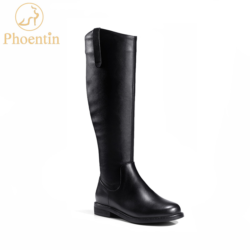 Phoentin black knee high boots with zipper genuine leather low flat heels long boots for women