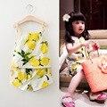 Novo 2016 moda frutas impresso meninas roupas Set meninas trajes de verão