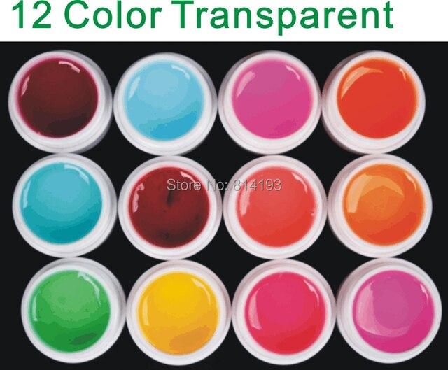 12 Color Transparent UV GEL Builder Nail ART Cleanser Plus Set Tips Kit