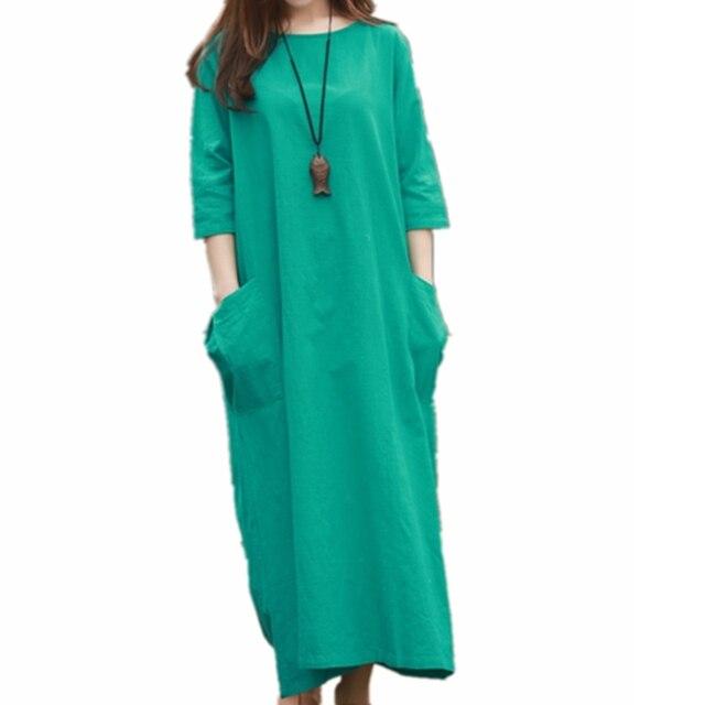 Big Pocket Womens Dresses Mori Girl O Neck Cotton Linen Midi Dress Loose Comfortable Casual Green Purple White Long Shift Dress
