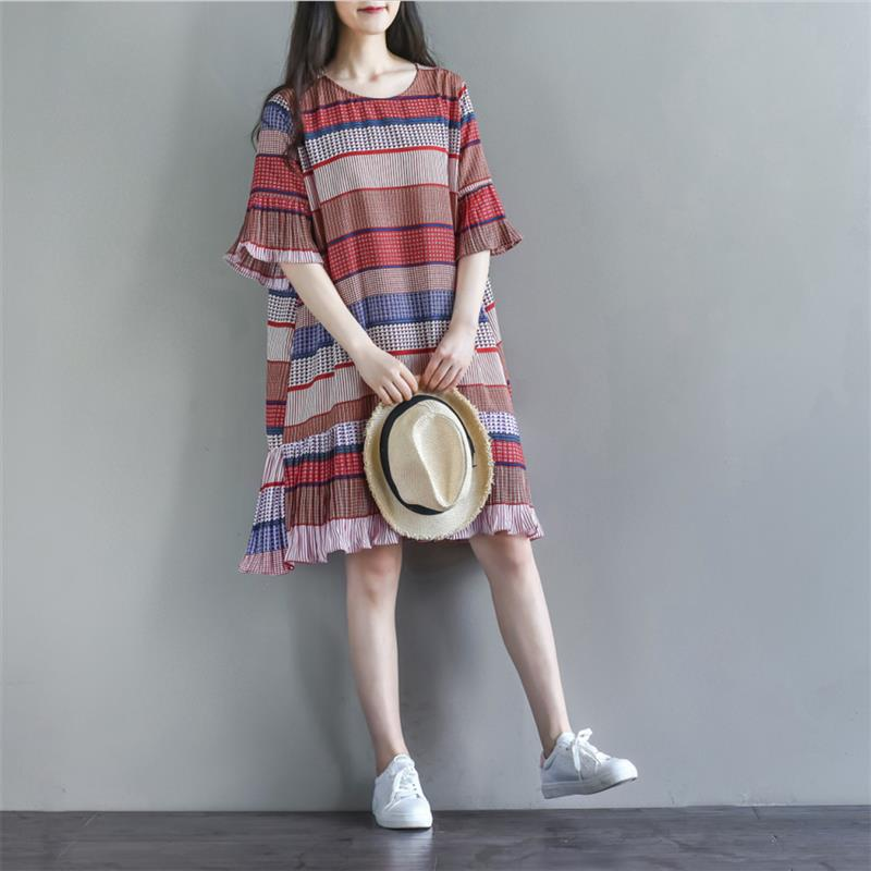 Mori girl 2019 summer new loose half sleeve ruffle stitching chiffon pleated striped O neck rainbow color women dresses