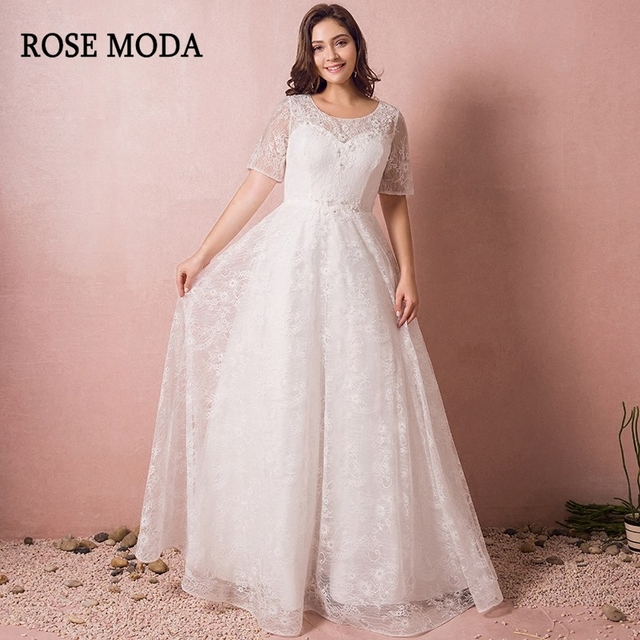 Rose Moda Lace Plus Size Wedding Dress 2019 Long Sleeves Plus Size Wedding  Gowns Lace Up Back Real Photos b3ad21df506e