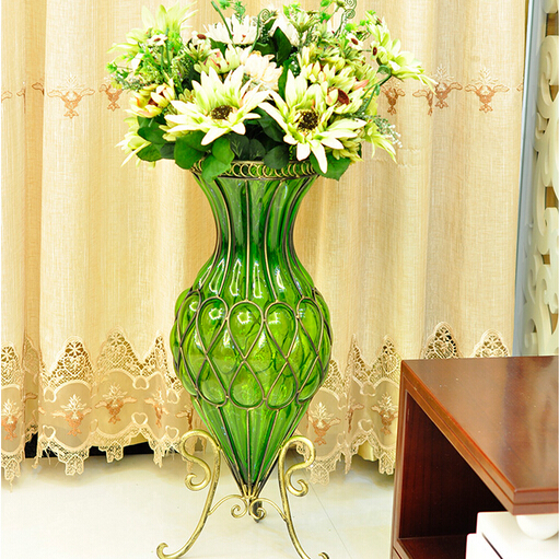 Fashion Modern Transparent Vintage Wrought Iron Glass Large Floor