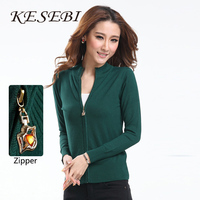 New Autumn And Winter In Europe And America Zipper Collar Cardigan Sweater Large Size Ladies Long