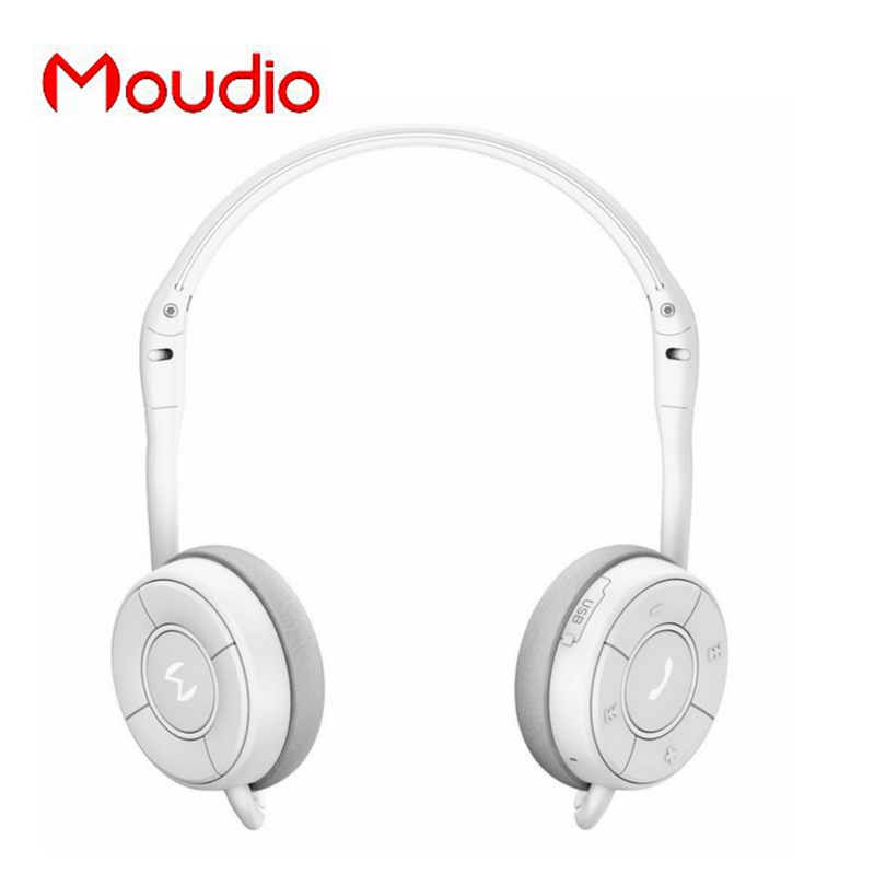 Moudio M100 White Bluetooth Sports Headphones Stereo Music Earphones For Samsung Xiaomi Mobile Phones With Mini Microphone