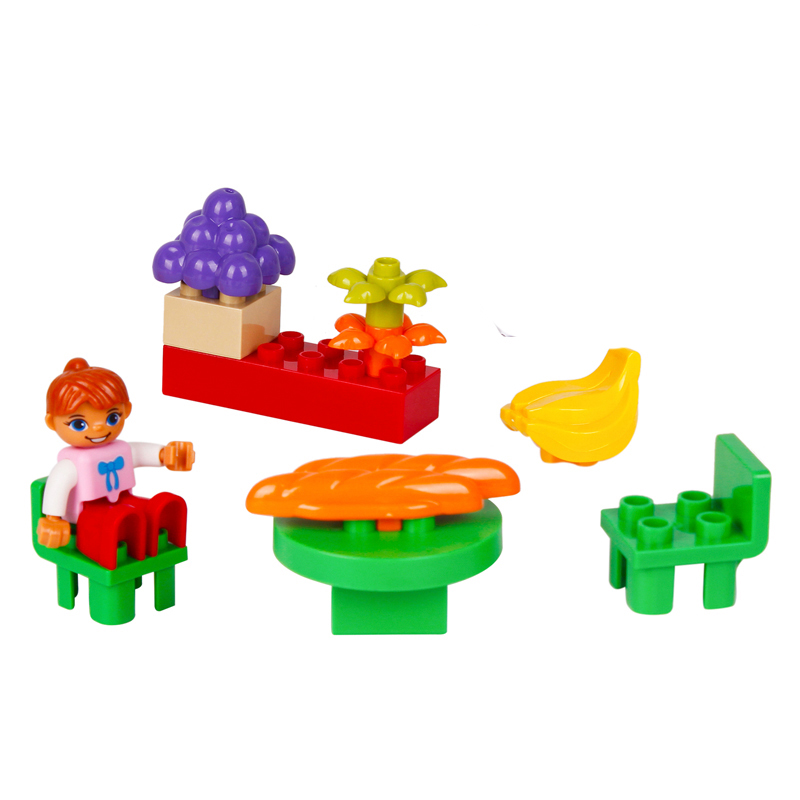 UMEILE 16 Style Original Classic Duplo Big Building Block  Cowboy Cake City Girl Figure Kids Toys Compatible with Duplo