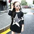 2016 Marca Primavera Outono Meninas da Longo-Luva O Pescoço T-shirt de Algodão Meninas Encantadoras Princesa Escola Impressão de Cinco Estrelas Bonito Quente venda