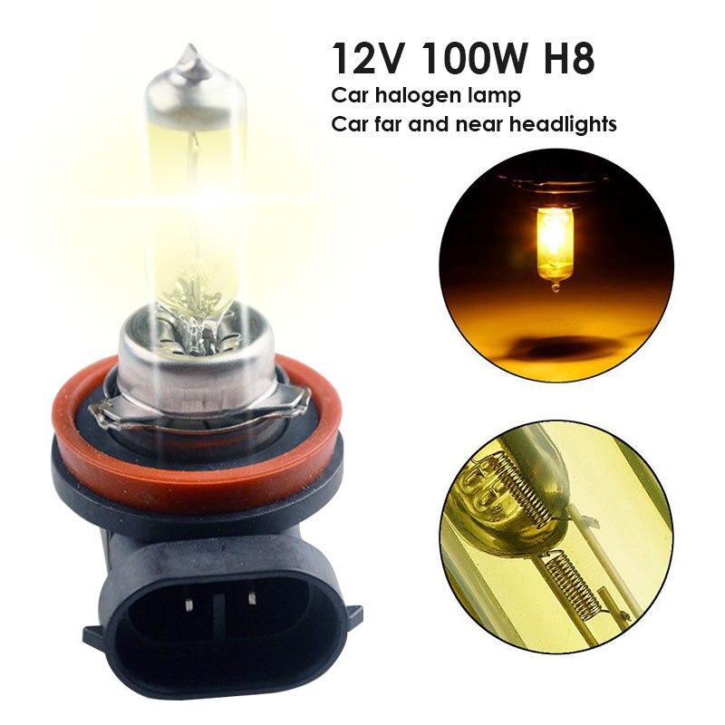 12V 100W H8 Hot Car Headlights Car Halogen Bulb 3000k Quartz Tube + Metal Lamp Holder Super Gold Yellow Light Headlights Lamp
