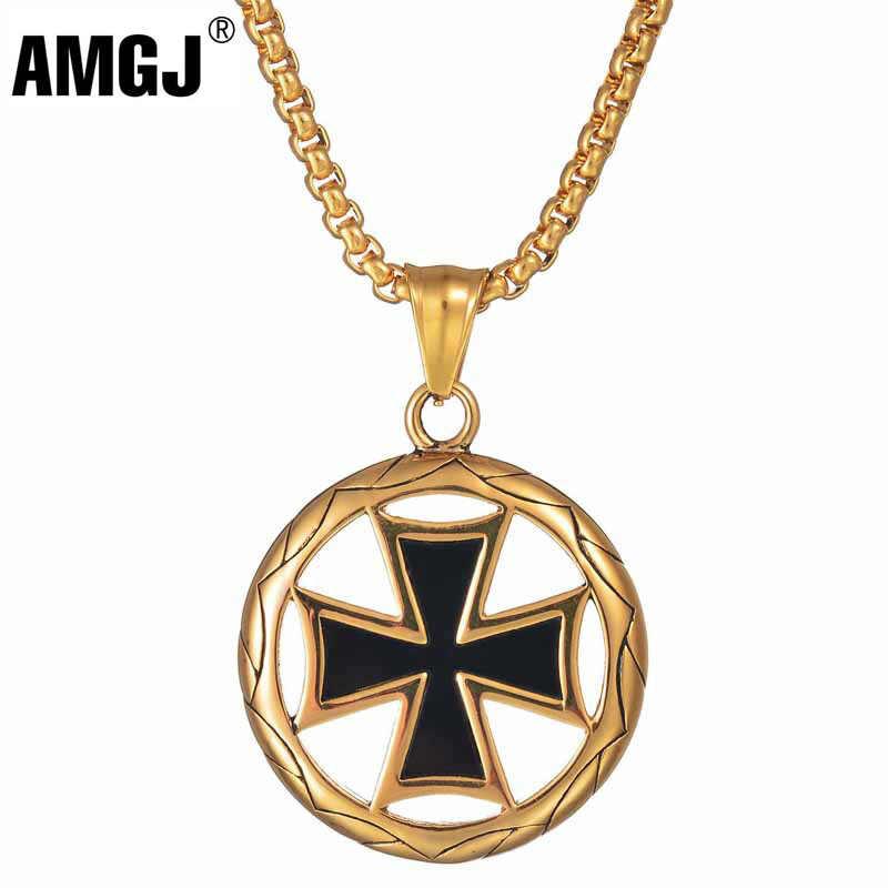 AMGJ Hip Hop Retro emalia okrągły krzyż wisiorek naszyjnik ze stali nierdzewnej dla mężczyzn złoty kolor srebrny mężczyzn damski naszyjnik biżuteria