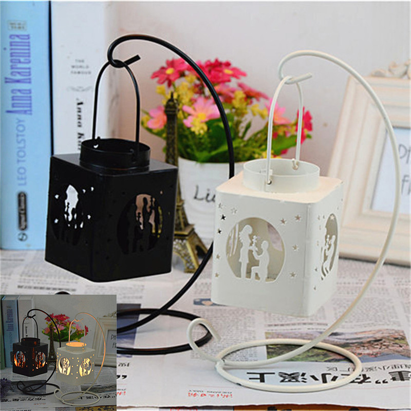 Fashion Creative AIron Square Hollow Candle Candlestick Candle Holder Hang on The Tree or Wall Home Wedding Decoration 2