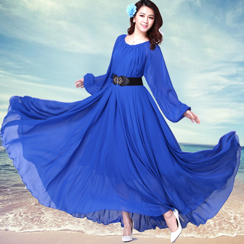 2017 Long Sleeve Solid Color Bohemia Elegant Plus Size Full Length Maxi Dress Holiday Beach Bridesmaid