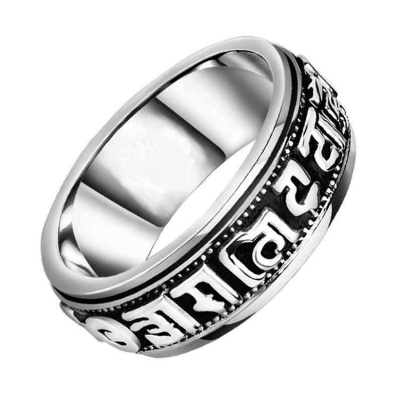 """Anillo de bendición giratorio de plata tibetana, nunca se decolora puede girar la energía Lucky """"Om Mani Padme Hum"""" Sanskrit budista anillo de Mantra"""