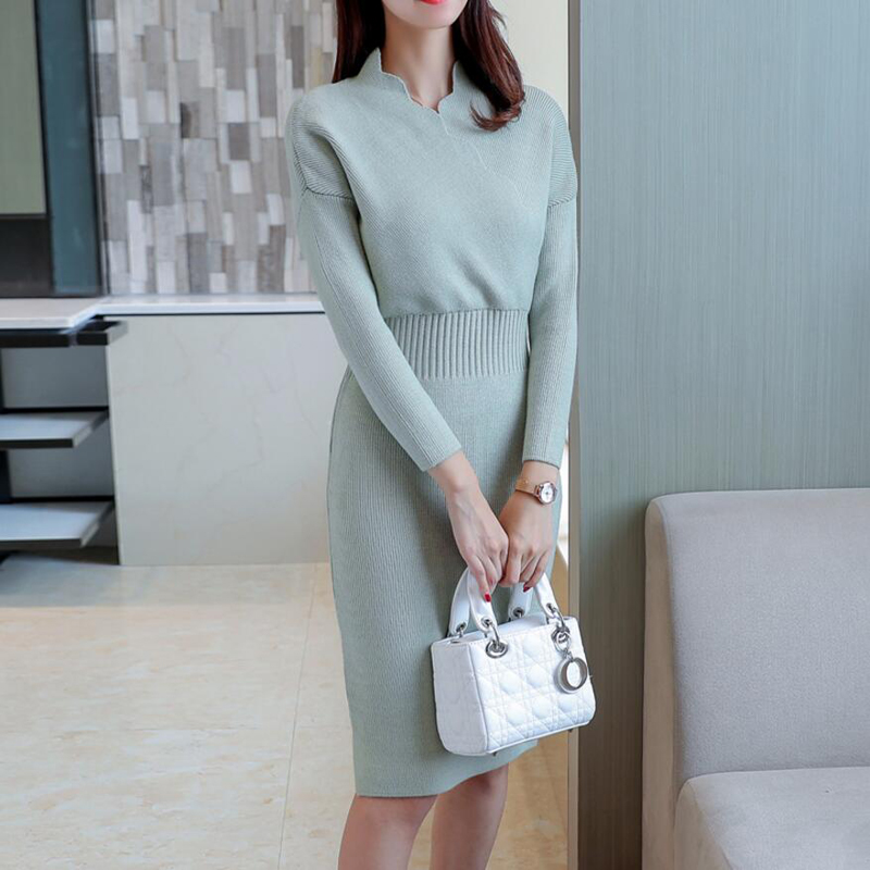 2018 Autumn Winter Womens Fashion Sexy Slim Cross V-Neck Sweater Dresses Female Long Sleeve Knitted Warm Thicken Sweater Dress 2
