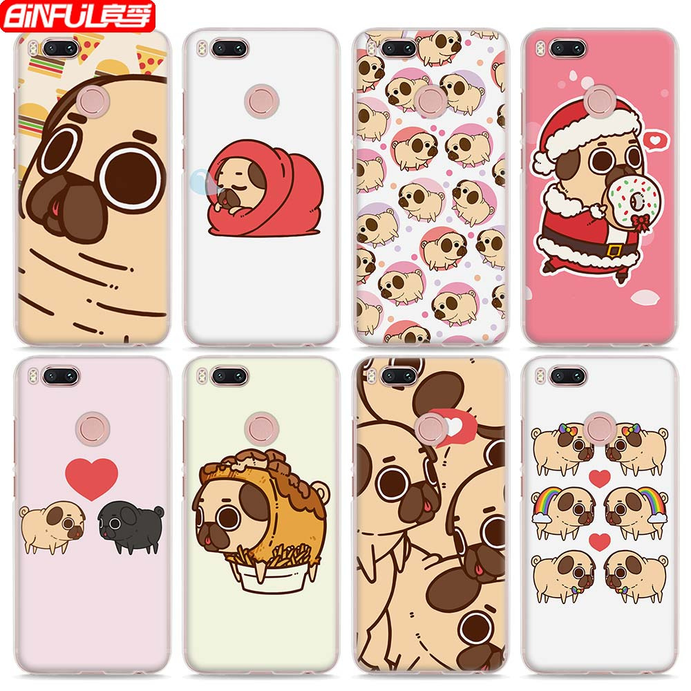 BiNFUL Hot Sale Puppy Pug French Bulldog style clear hard mobile phone shell Case for Xiaomi Mi 6 5X 5s for Redmi 4x 4A Note3 No