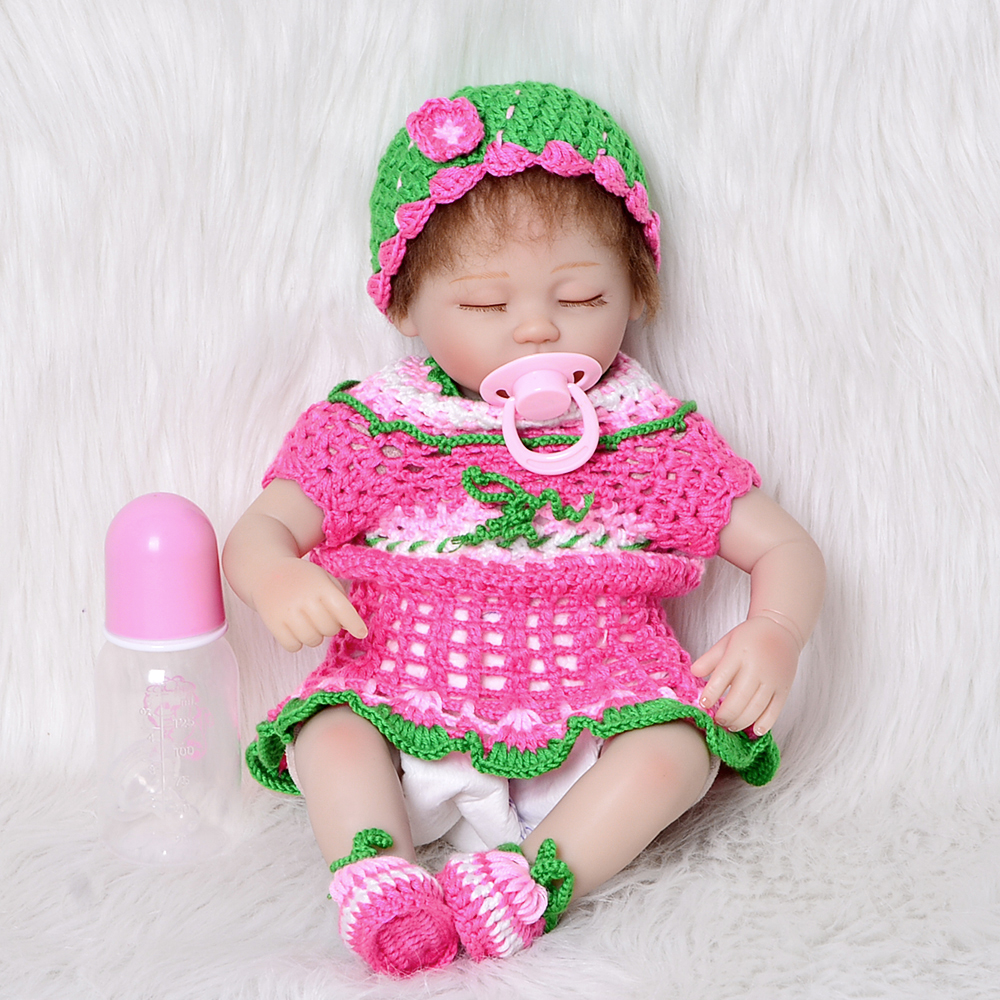 Sleeping Lovely Silicone Reborn Doll Baby 17 Inch Lifelike Newborn Girl Babies With Knitted Dress Kids Birthday Christmas Gift hot sale 2016 npk 22 inch reborn baby doll lovely soft silicone newborn girl dolls as birthday christmas gifts free pacifier
