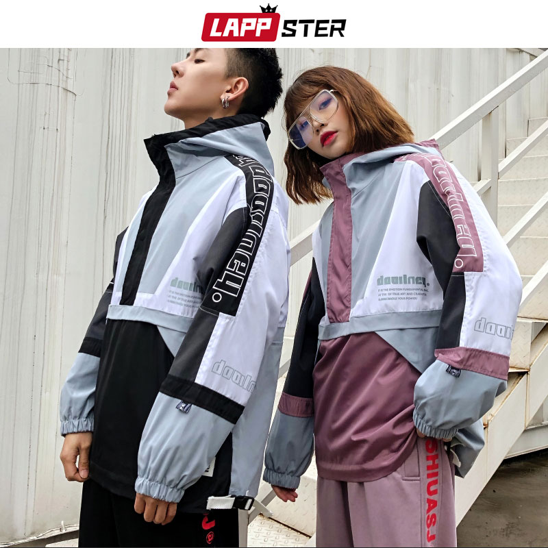 LAPPSTER Patchwork Streetwear Tracksuit Men 2019 Mens Harajuku Joggers Suit Sets Vintage Hooded Hoodies Fashions Joggers Pants