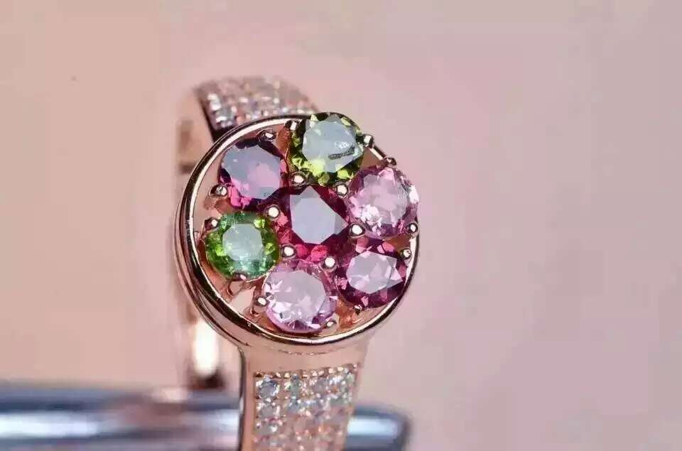 Natural multicolor tourmaline gem Ring Natural gemstone ring 925 sterling silver trendy circular rotation women party JewelryNatural multicolor tourmaline gem Ring Natural gemstone ring 925 sterling silver trendy circular rotation women party Jewelry
