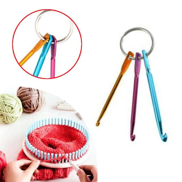 3pcs Aluminum Knit Needle Crochet Hook Keychain Keyring Gift Knit