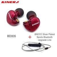 Original KINERA BD005 1DD With 1BA Hybrid Drive Sport HIFI In Ear Earphone 6NOCC Silver Plated