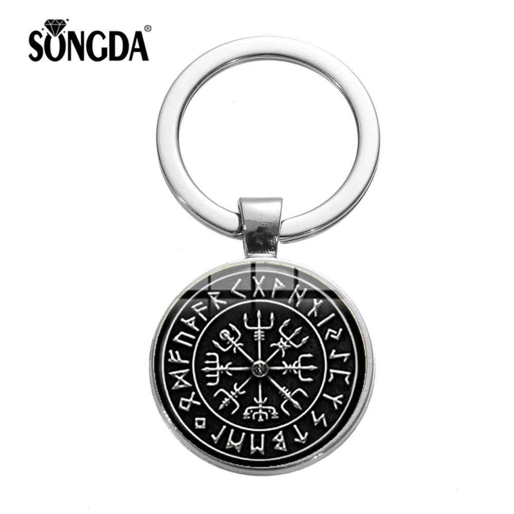 Llavero SONGDA con símbolo de vikingos nórdicos Steampunk, amuleto de brújula vikinga Vegvisir, colgante rúnico Retro, llavero de cristal, accesorios