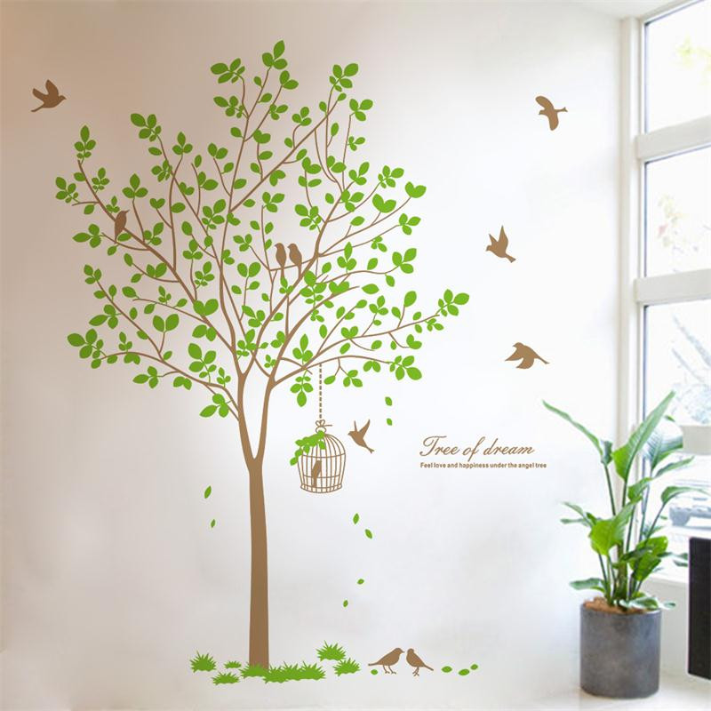 180*167 Cm Large Size Tree Birds Beautiful Leaves Jungle Living Room Decor  Wall