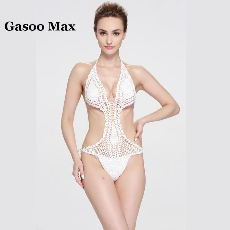 2017 New Handmade Crochet One pieces Swimsuit Bikini Sets Sexy Swimwear Women Bathing Suit Swim Vintage Summer Beach Wear