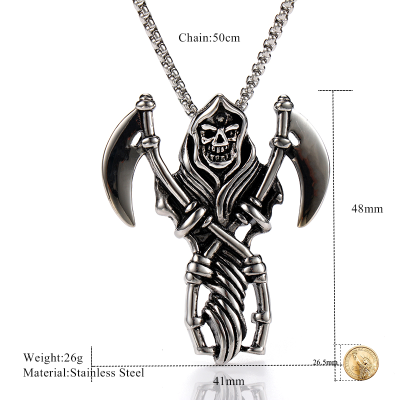 OQEPJ Vintage Double Sickle Skeleton Skull Death 39 s Head Men Pendant Necklace 316L Stainless Steel Men Jewelry With Free Chain in Pendant Necklaces from Jewelry amp Accessories