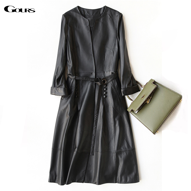 Gours Genuine Leather Coat for Women Spring Fashion Classic Long Sleeve Slim Coat Ladies Leather Windbreak Sheepskin Jacket