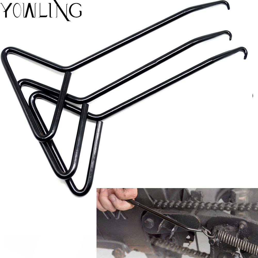 Universal Motorcycle Bicycle T-Handle Spring Hook Exhaust Stand Puller Stainless Steel Tools Hook extension Exhaust middle pipe