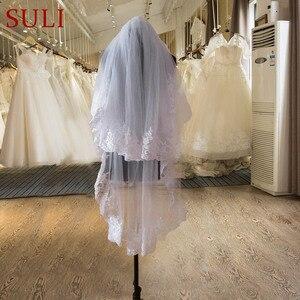 Image 1 - TS2 Weiß Zwei Schicht Tüll Spitze Kante Kurze Schöne Braut Schleier mit Kamm