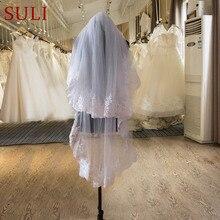 Ts2 branco duas camadas tule borda do laço curto bonito véu de noiva com pente
