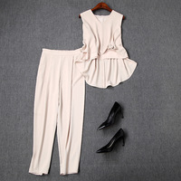 Pant Suit Summer Women 2019 New Solid Color V Neck Sleeveless Irregular Top + Elastic Waist Solid Color Ankle Length Pants Set
