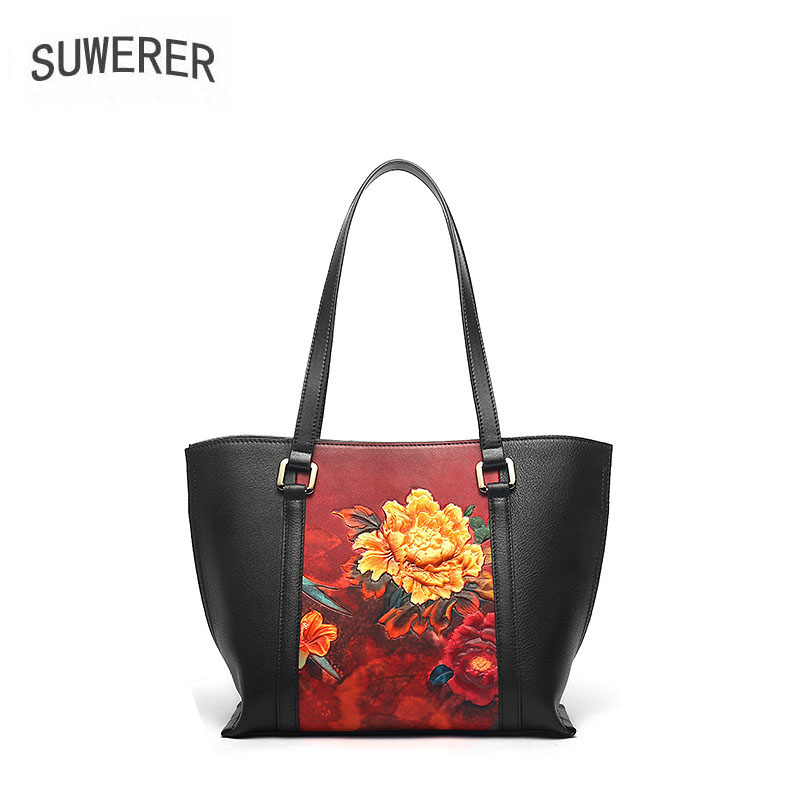 SUWERER Women Genuine Leather bags Fashion Embossed bag handbags big capacity women bags designer women leather shoulder bag