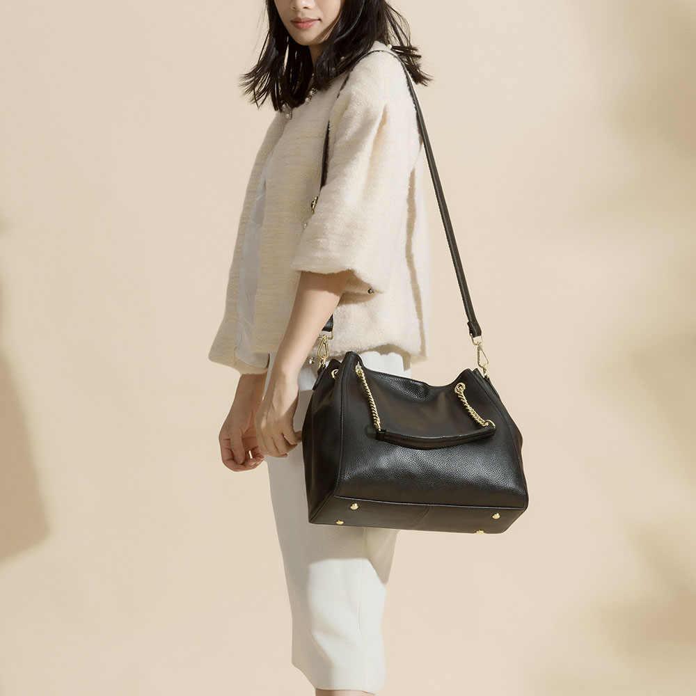 Zency 100% Kulit Asli Tas Fashion Wanita Tas Bahu Tinggi Kualitas Wanita Crossbody Messenger Tas Hitam Klasik Tote