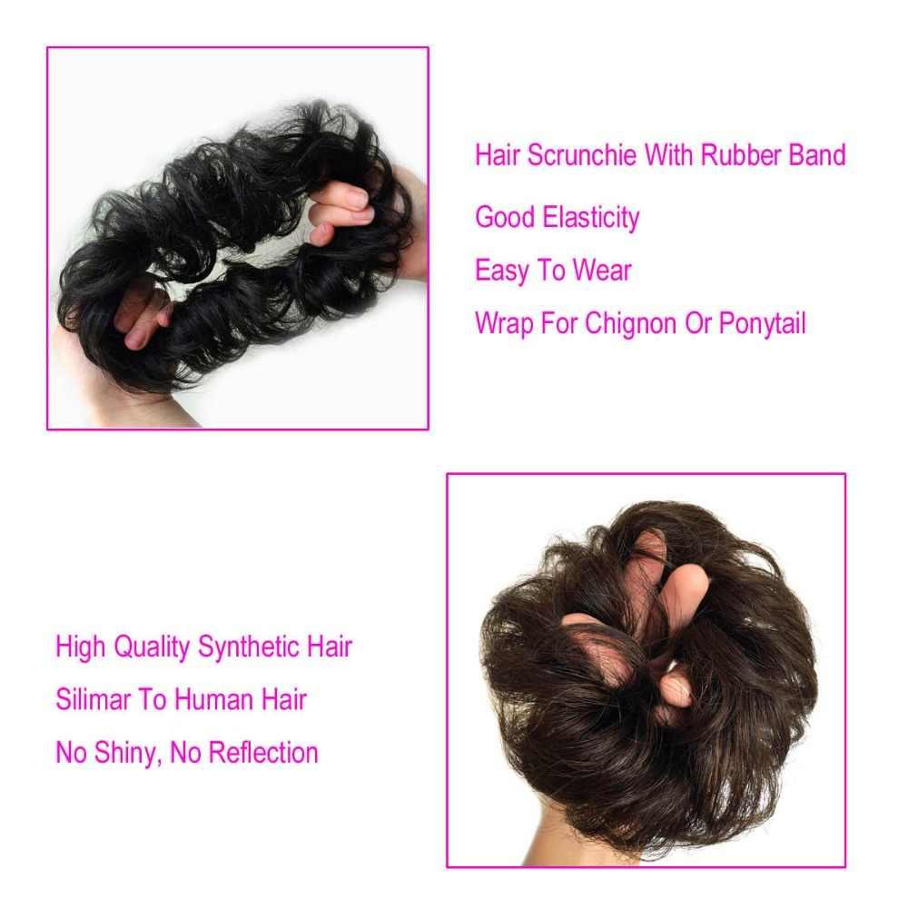 S-noilite pelo sintético Chignons elástico scrunchies extensiones de cabello cinta Cola de Caballo paquetes de horquillas bollos de Donut
