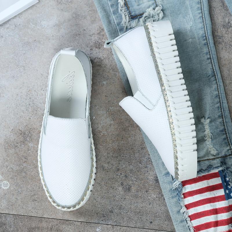 fa74a7016b96 Tendance chaussures pour femme Sport Fond Épais Chaussures En Cuir Plat  chaussures pour femmes Plat Creux