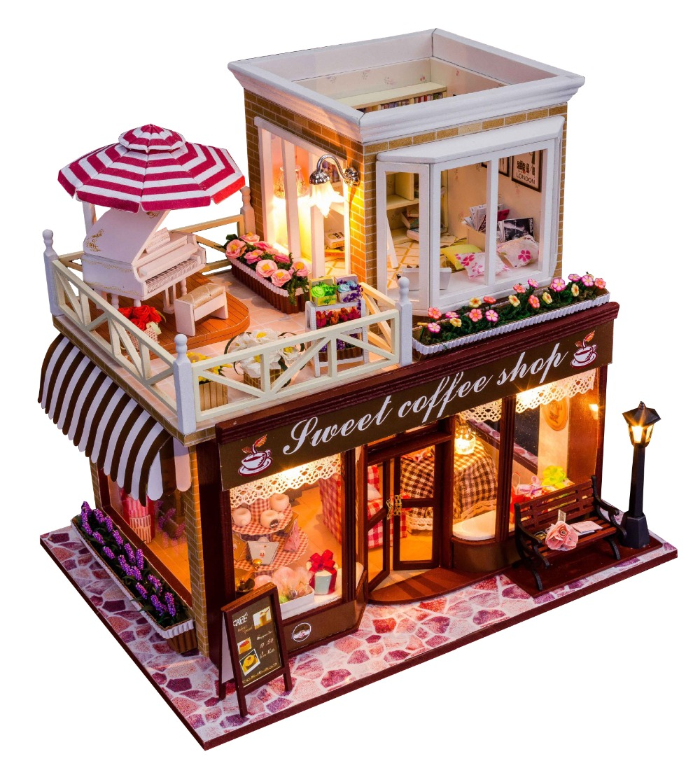 24 DIY Doll house 3D Miniature Wooden assembled+Music box+Voice-activated light Handmade kits Building model Caravan diy wooden handcraft miniature provence dollhouse voice activated led light