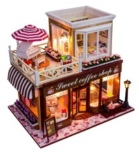 24 DIY Doll house 3D Miniature Wooden assembled+Music box+Voice-activated light Handmade kits Building model Caravan