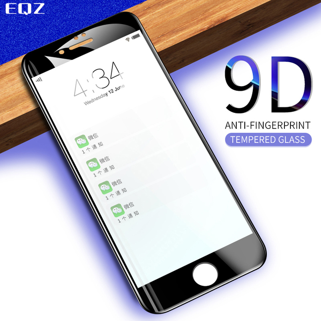 EQZ 9D radian Protective Glass for iPhone 7 6s 8plus glass Screen protector on for iPhone XS MAX XR Tempered glass 9H film glass