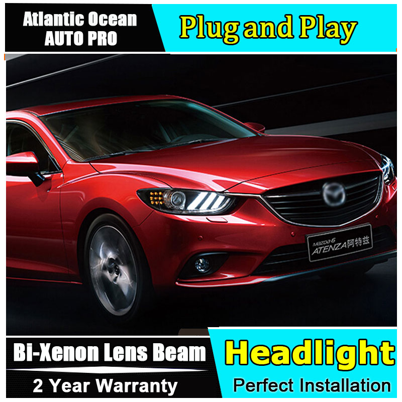Auto.Pro Car Styling for 2014 New Mazda 6 LED Headlight Mazda6 Headlights DRL Lens Double Beam HID KIT Xenon bi xenon lens hireno headlamp for hodna fit jazz 2014 2015 2016 headlight headlight assembly led drl angel lens double beam hid xenon 2pcs