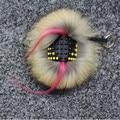 Cartera de cuero negro Pom Pom piel verdadera muñeca monstruo llavero encanto del carro de golf bolsa colgante correa GS666 1